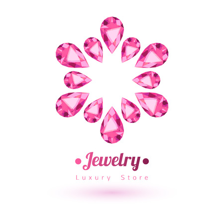 pink flower background: Pink gemstones jewelry symbol. Star or flower shape. Rubies on white background.