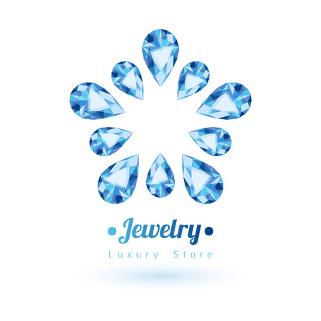 blue star background: Blue gemstones jewelry symbol. Star or flower shape. Sapphire on white background.