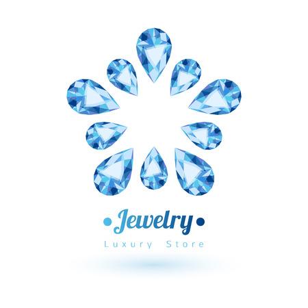 gemstones: Blue gemstones jewelry symbol. Star or flower shape. Sapphire on white background.