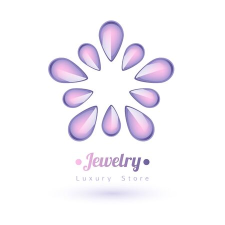 diamond background: Purple gemstones jewelry symbol. Star or flower shape. Pearls on white background. Illustration
