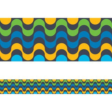 carnival border: Copacabana Rio de janeiro beach seamless border. Vector illustration colorful background. Brazilian national colors.