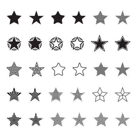 stars and symbols: Assorted stars icons symbols vector illustration set.