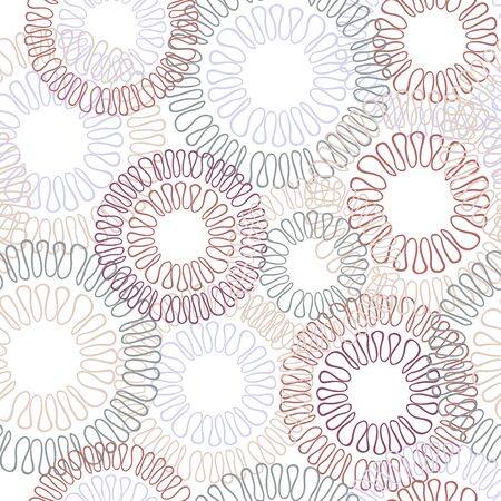 loops: Loops and circles seamless pattern. Colorful vector floral background illustration.