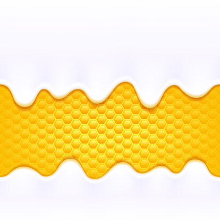 honey comb: Yogurt milk cream drips. White product flowing on colorful yellow honey comb backdrop. Seamless horizontal background. Illustration