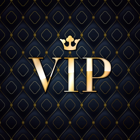 platinum style: VIP abstract quilted background, diamonds and golden letters with crown. Illustration