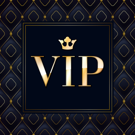 VIP abstract quilted background, diamonds and golden letters with crown. Stock Illustratie