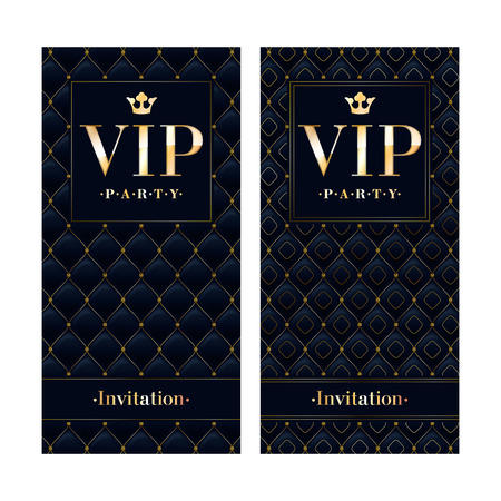 VIP club party premium invitation card poster flyer. Black and golden design template. Quilted pattern decorative vector background. Reklamní fotografie - 55727956