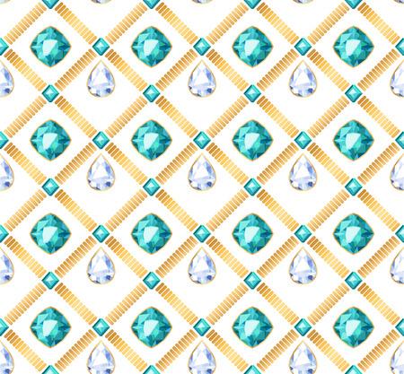 green gemstones: Golden chains white and green gemstones seamless pattern on white background. Drop shape pendants vector illustration. Good for cover card banner luxury poster design. Illustration