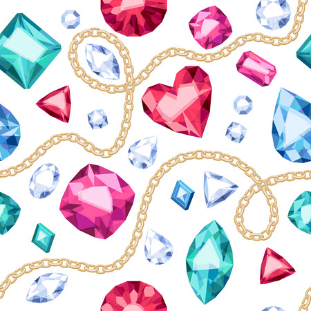 Golden chains and colorful gemstones seamless pattern on white background. Assorted diamonds rubies emeralds vector illustration. Good for cover card banner poster luxury design.
