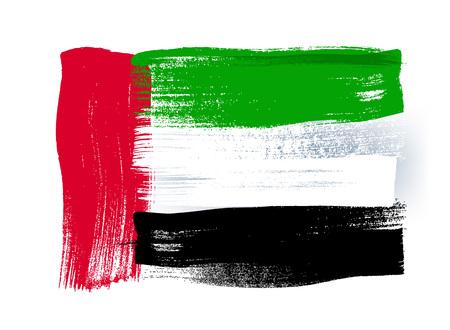 Émirats arabes unis coups de pinceau coloré peint national icône de drapeau du pays. texture peinte. Vecteurs