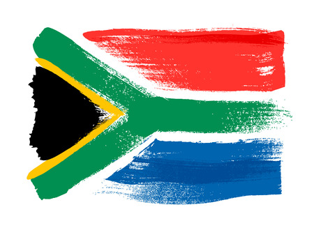 South Africa colorful brush strokes painted national country flag icon. Painted texture. Stock Illustratie