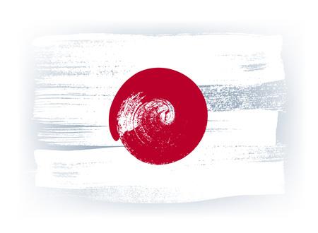Japon coups de pinceau coloré peint un pays drapeau japonais icône. texture peinte.