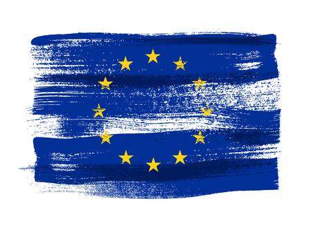 유럽 연합 다채로운 브러쉬 획 국가 색이 페인트 EU 플래그 아이콘입니다. 페인트 텍스처입니다.