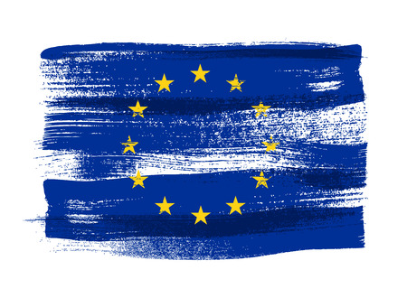 EU: European Union colorful brush strokes painted national country EU flag icon. Painted texture.