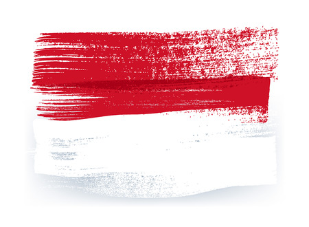 monegasque: Monaco colorful brush strokes painted national country Monegasque flag icon. Painted texture.