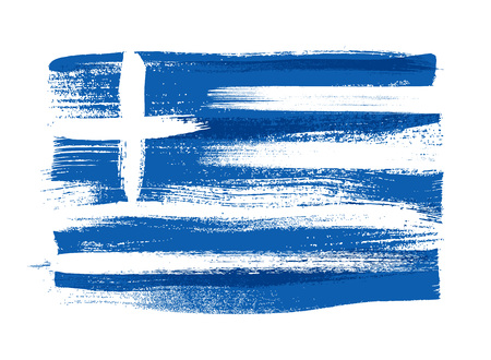 Greece colorful brush strokes painted national country greek flag icon. Painted texture. Vettoriali