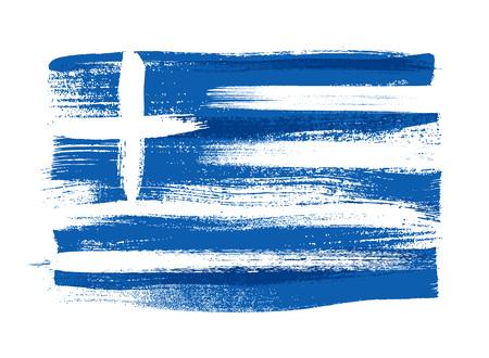 national: Grecia Los trazos de colores pintadas a pincel nacional del país icono de la bandera griega. pintado textura. Vectores