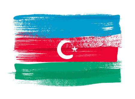 Azerbaijan colorful brush strokes painted national country flag icon. Painted texture.