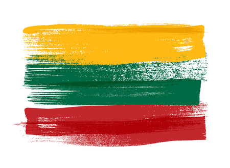 baltic: Lithuania colorful brush strokes painted national baltic country Lithuanian flag icon. Painted texture.