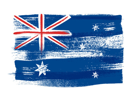 watercolor brush: Australia colorful brush strokes painted national country Australian flag icon. Painted texture.