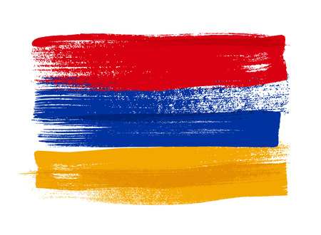 world flag: Armenia colorful brush strokes painted national country Armenian flag icon. Painted texture.