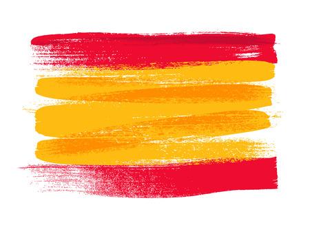 스페인 다채로운 브러쉬 스트로크 국가 국가 플래그 아이콘을 그렸다. 그린 질감입니다.