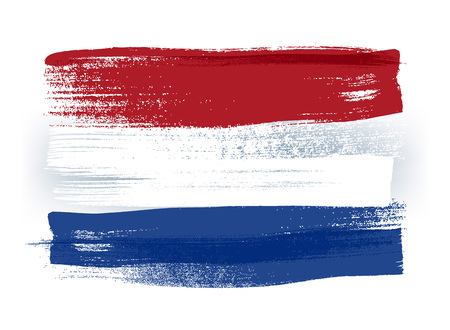 national: Netherlands colorful brush strokes painted national country Dutch flag icon. Painted texture.