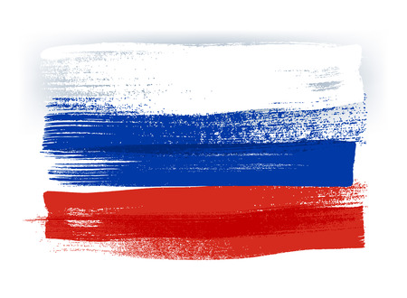 Russia colorful brush strokes painted national country russian flag icon. Painted texture.