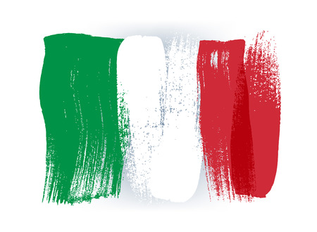 Italy colorful brush strokes painted national country italian flag icon. Painted texture.  イラスト・ベクター素材