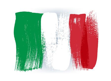이탈리아 화려한 브러시 획 국가 국가 이탈리아어 플래그 아이콘을 그렸습니다. 페인트 텍스처입니다. 일러스트