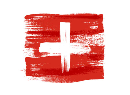 Switzerland colorful brush strokes painted national country Swiss flag icon. Painted texture.