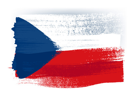 czech flag: Czech Republic colorful brush strokes painted national country flag icon. Painted texture. Illustration