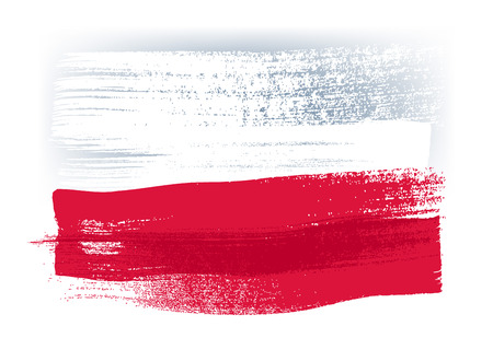 Poland colorful brush strokes painted national country Polish flag icon. Painted texture.