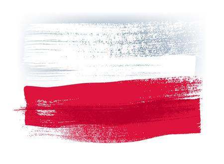 Pologne coups de pinceau coloré peint un pays drapeau polonais icône. texture peinte.