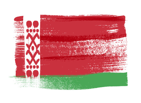 belorussian: Belarus colorful brush strokes painted national country Belorussian flag icon. Painted texture.