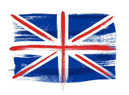 Great Britain United Kingdom UK british colorful brush strokes painted national country flag icon. Painted texture.