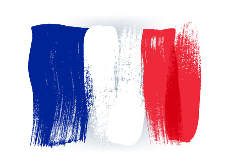 France colorful brush strokes painted national country french flag icon. Painted texture.