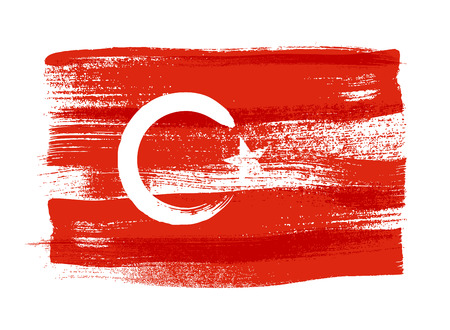 Turkey colorful brush strokes painted national country Turkish flag icon. Painted texture.