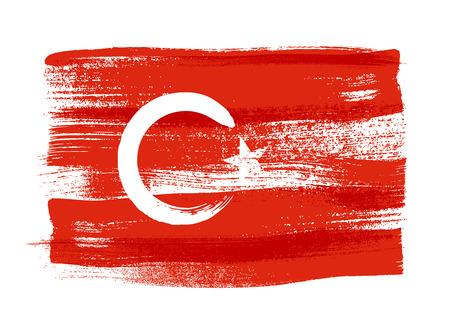 Turquie coups de pinceau coloré peint pays drapeau national turc icône. texture peinte.
