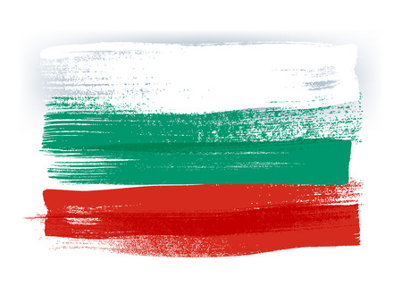 bulgarian: Bulgaria colorful brush strokes painted national country Bulgarian flag icon. Painted texture.