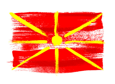 macedonian flag: Macedonia colorful brush strokes painted national country Macedonian flag icon. Painted texture. Illustration