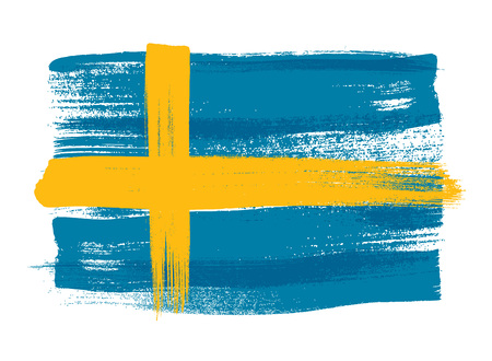 swedish: Sweden colorful brush strokes painted national scandinavian country Swedish flag icon. Painted texture.