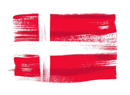 danish flag: Denmark colorful brush strokes painted national scandinavian country Danish flag icon. Painted texture. Illustration