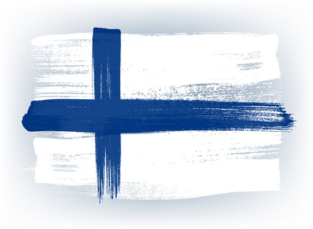 Finland colorful brush strokes painted national country finnish flag icon. Painted texture.