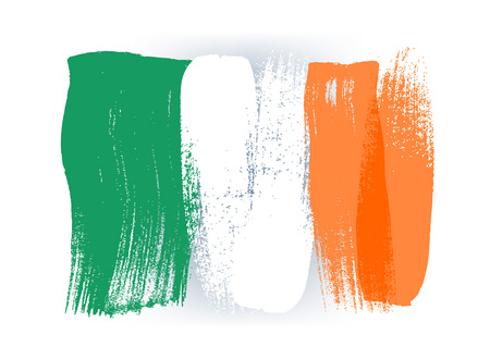 painted: Ireland colorful brush strokes painted national country irish flag icon. Painted texture.