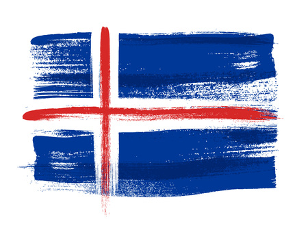 icelandic flag: Iceland colorful brush strokes painted national country Icelandic flag icon. Painted texture.