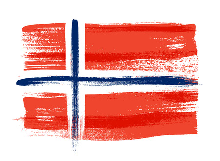 norwegian flag: Norway colorful brush strokes painted national scandinavian country Norwegian flag icon. Painted texture.