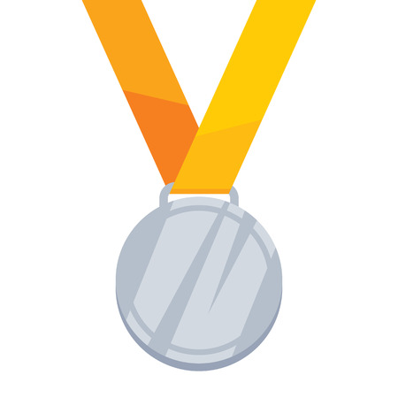 silver medal: Silver medal on yellow ribbon flat style illustration. Golden medal. Medal Icon. Medal symbol. Sport medal. Award medal. Illustration
