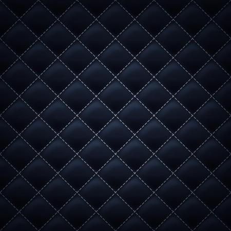 Gewatteerde vierkante gestikt patroon als achtergrond. Zwarte kleur. Bekleding vector illustratie.