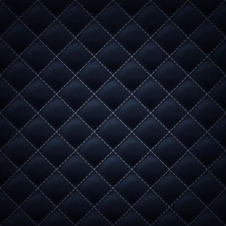 black leather: Quilted square stitched background pattern. Black color. Upholstery vector illustration.